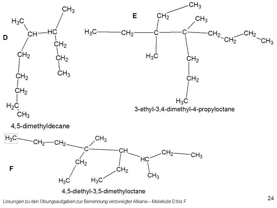 24 Lösungen zu den Übungsaufgaben zur Benennung verzweigter Alkane – Moleküle D bis F D F E