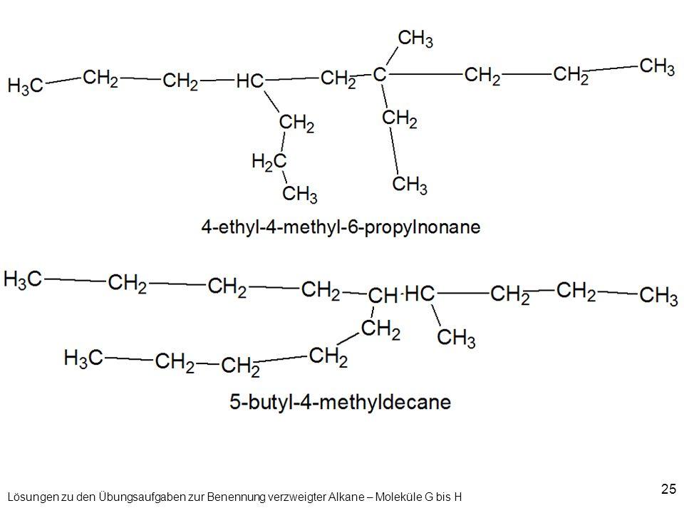 25 Lösungen zu den Übungsaufgaben zur Benennung verzweigter Alkane – Moleküle G bis H