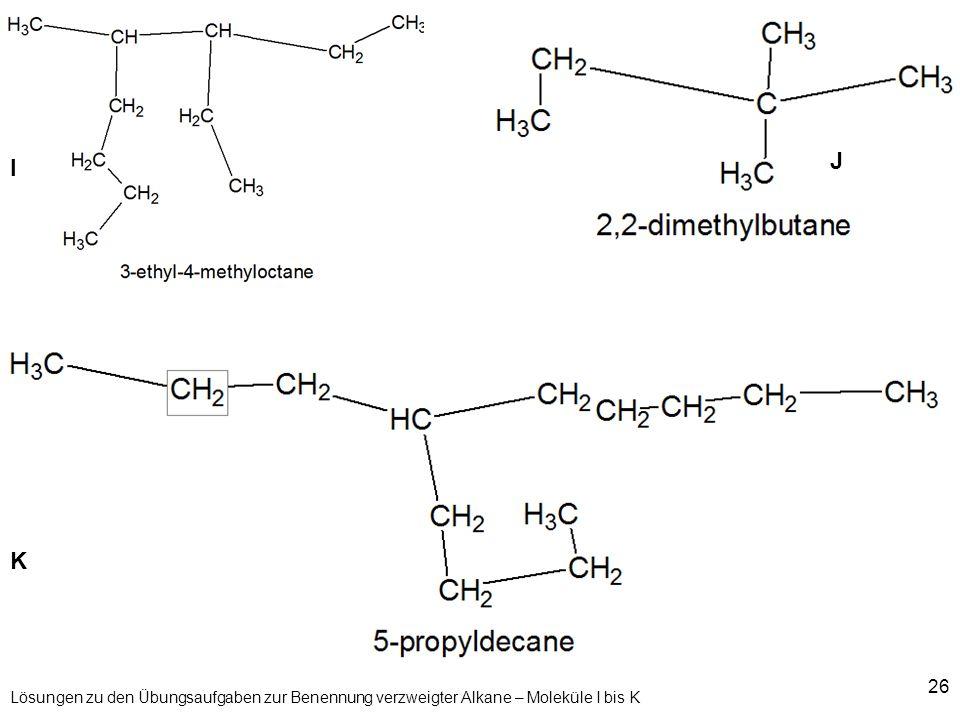 26 Lösungen zu den Übungsaufgaben zur Benennung verzweigter Alkane – Moleküle I bis K I J K