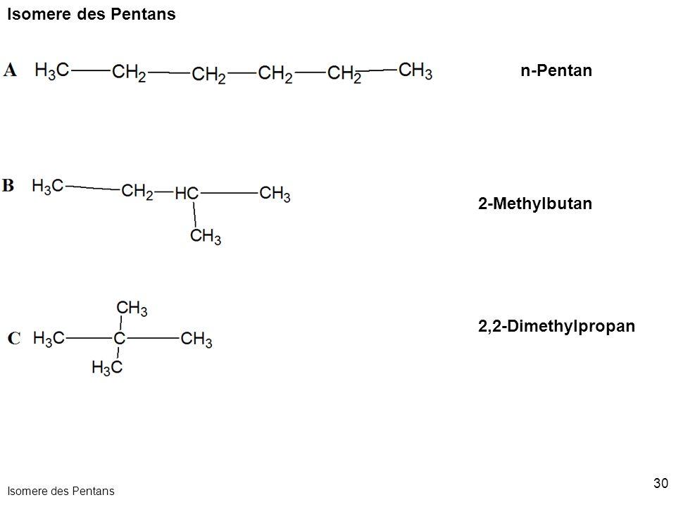 30 Isomere des Pentans n-Pentan 2-Methylbutan 2,2-Dimethylpropan