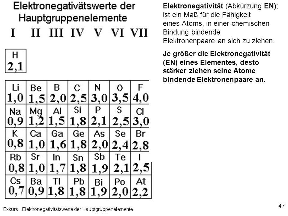 47 Exkurs - Elektronegativitätswerte der Hauptgruppenelemente Elektronegativität (Abkürzung EN); ist ein Maß für die Fähigkeit eines Atoms, in einer c
