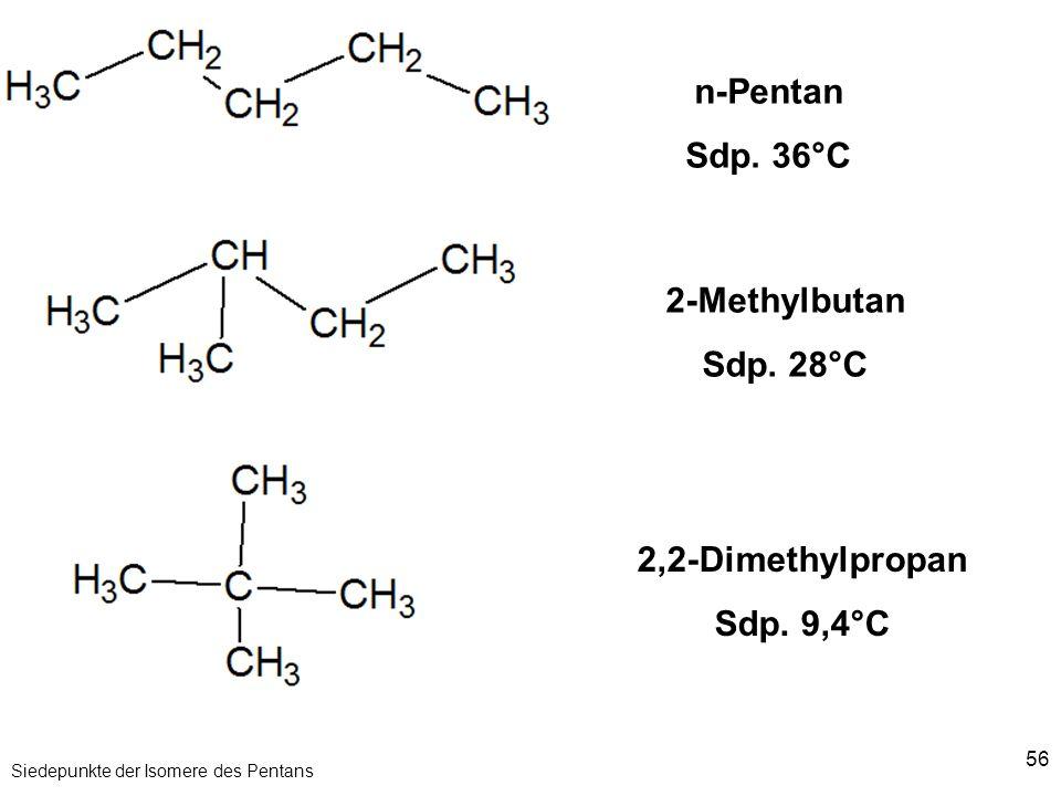 56 Siedepunkte der Isomere des Pentans n-Pentan Sdp. 36°C 2-Methylbutan Sdp. 28°C 2,2-Dimethylpropan Sdp. 9,4°C