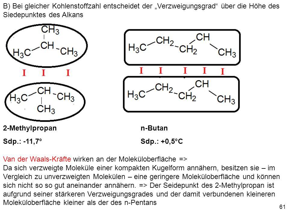 61 Van der Waals-Kräfte wirken an der Moleküloberfläche => Da sich verzweigte Moleküle einer kompakten Kugelform annähern, besitzen sie – im Vergleich