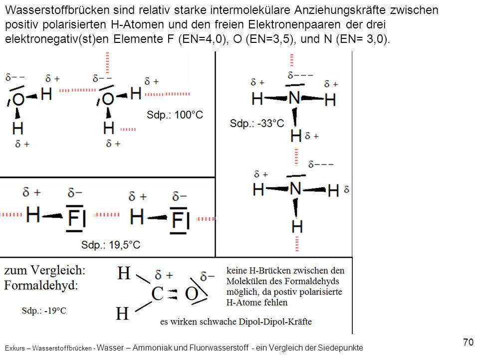 70 Exkurs – Wasserstoffbrücken - Wasser – Ammoniak und Fluorwasserstoff - ein Vergleich der Siedepunkte Wasserstoffbrücken sind relativ starke intermo