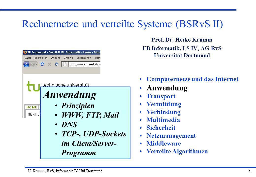 H. Krumm, RvS, Informatik IV, Uni Dortmund 1 Rechnernetze und verteilte Systeme (BSRvS II) Prof. Dr. Heiko Krumm FB Informatik, LS IV, AG RvS Universi