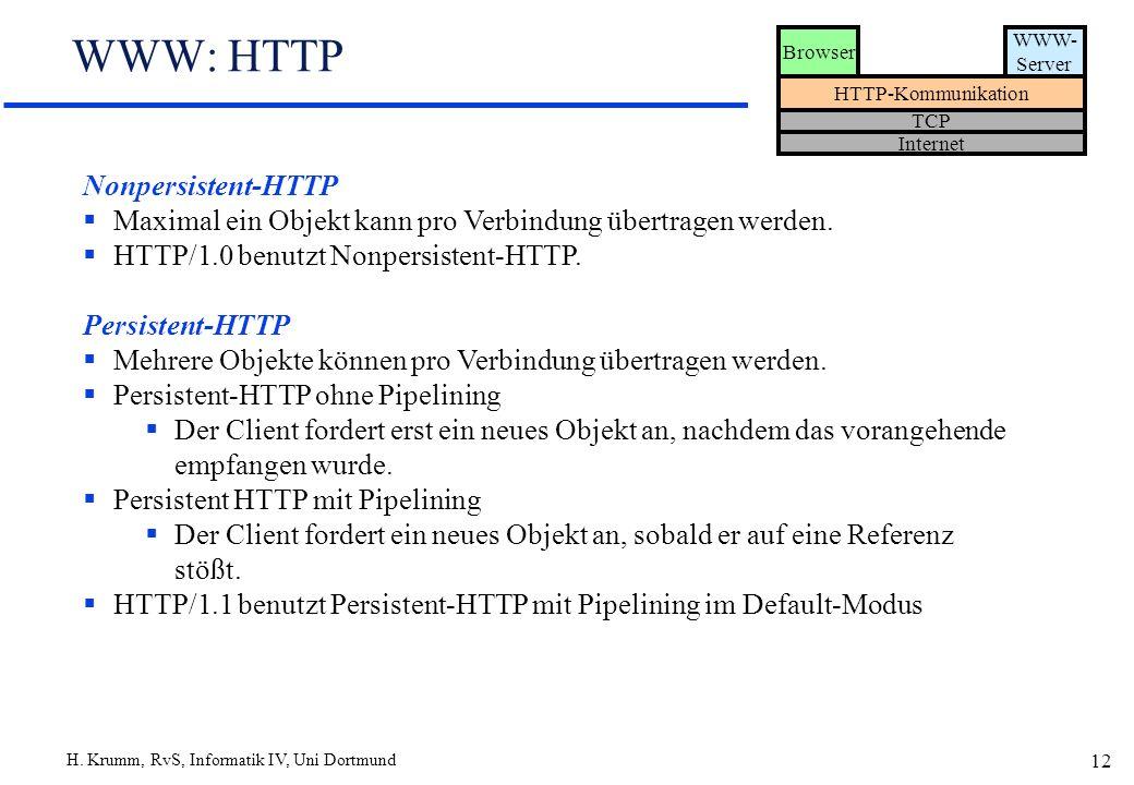 H. Krumm, RvS, Informatik IV, Uni Dortmund 12 WWW: HTTP Browser WWW- Server HTTP-Kommunikation TCP Internet Nonpersistent-HTTP Maximal ein Objekt kann
