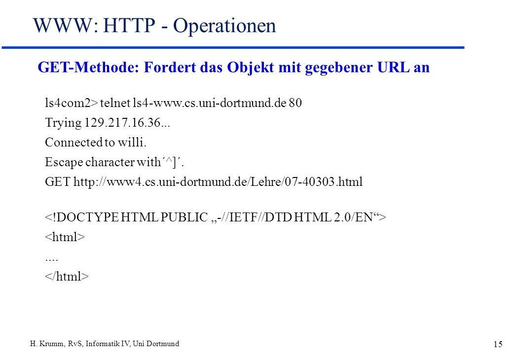 H. Krumm, RvS, Informatik IV, Uni Dortmund 15 WWW: HTTP - Operationen GET-Methode: Fordert das Objekt mit gegebener URL an ls4com2> telnet ls4-www.cs.