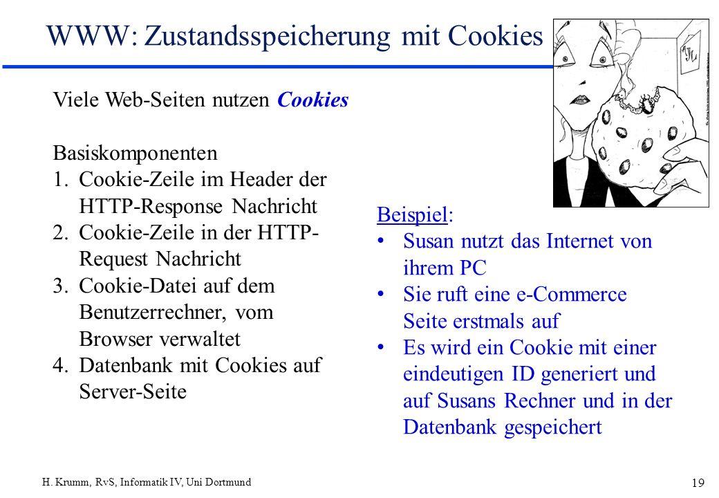 H. Krumm, RvS, Informatik IV, Uni Dortmund 19 WWW: Zustandsspeicherung mit Cookies Viele Web-Seiten nutzen Cookies Basiskomponenten 1.Cookie-Zeile im