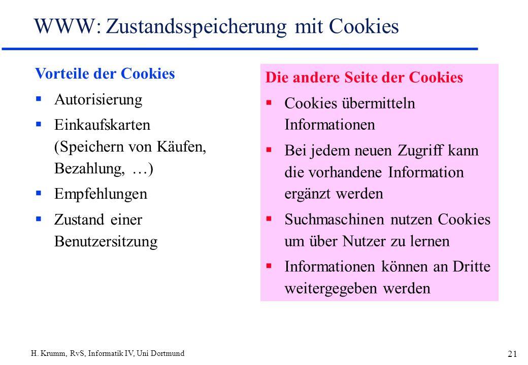 H. Krumm, RvS, Informatik IV, Uni Dortmund 21 WWW: Zustandsspeicherung mit Cookies Vorteile der Cookies Autorisierung Einkaufskarten (Speichern von Kä
