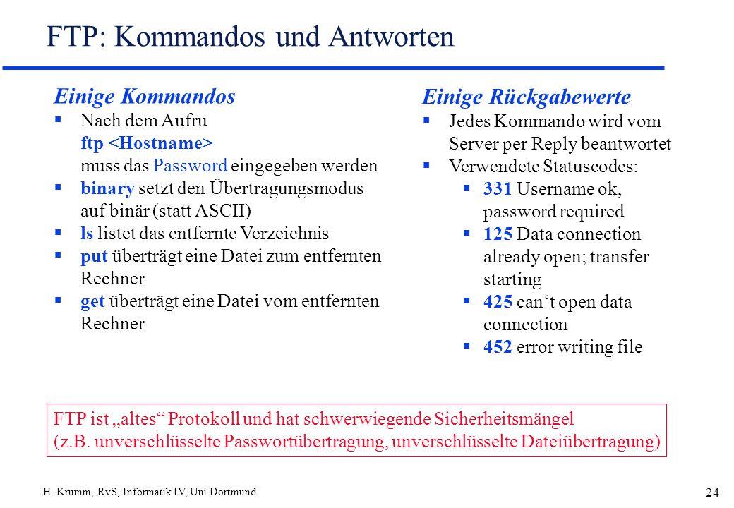 H. Krumm, RvS, Informatik IV, Uni Dortmund 24 FTP: Kommandos und Antworten Einige Kommandos Nach dem Aufru ftp muss das Password eingegeben werden bin