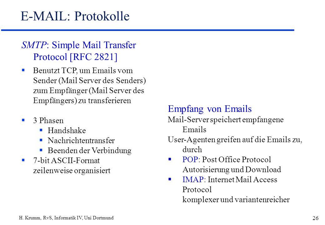 H. Krumm, RvS, Informatik IV, Uni Dortmund 26 E-MAIL: Protokolle SMTP: Simple Mail Transfer Protocol [RFC 2821] Benutzt TCP, um Emails vom Sender (Mai