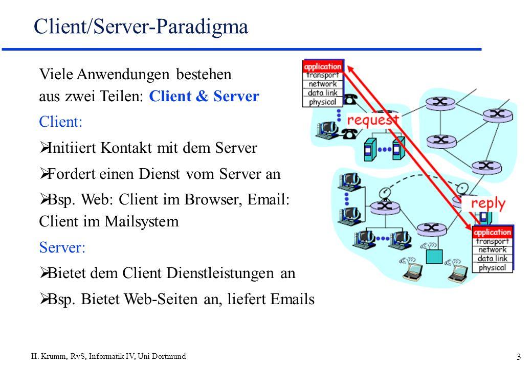 H. Krumm, RvS, Informatik IV, Uni Dortmund 3 Client/Server-Paradigma Viele Anwendungen bestehen aus zwei Teilen: Client & Server Client: Initiiert Kon