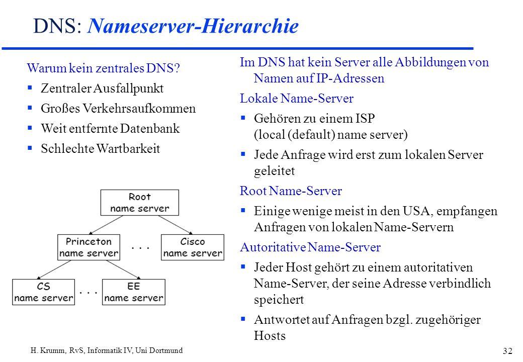 H. Krumm, RvS, Informatik IV, Uni Dortmund 32 DNS: Nameserver-Hierarchie Warum kein zentrales DNS? Zentraler Ausfallpunkt Großes Verkehrsaufkommen Wei