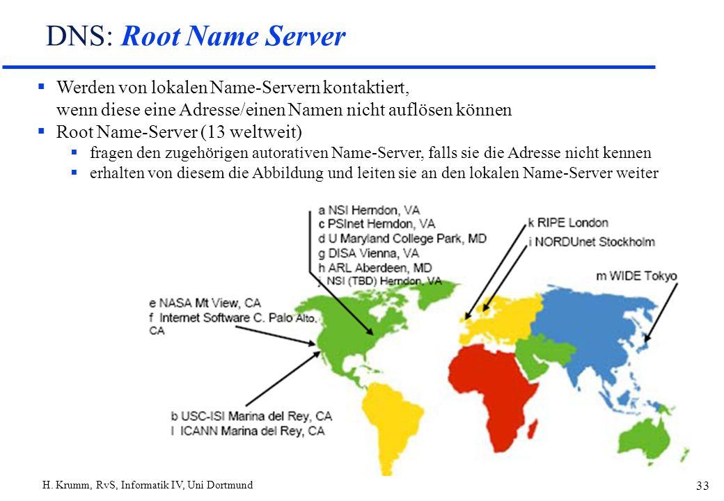H. Krumm, RvS, Informatik IV, Uni Dortmund 33 DNS: Root Name Server Werden von lokalen Name-Servern kontaktiert, wenn diese eine Adresse/einen Namen n