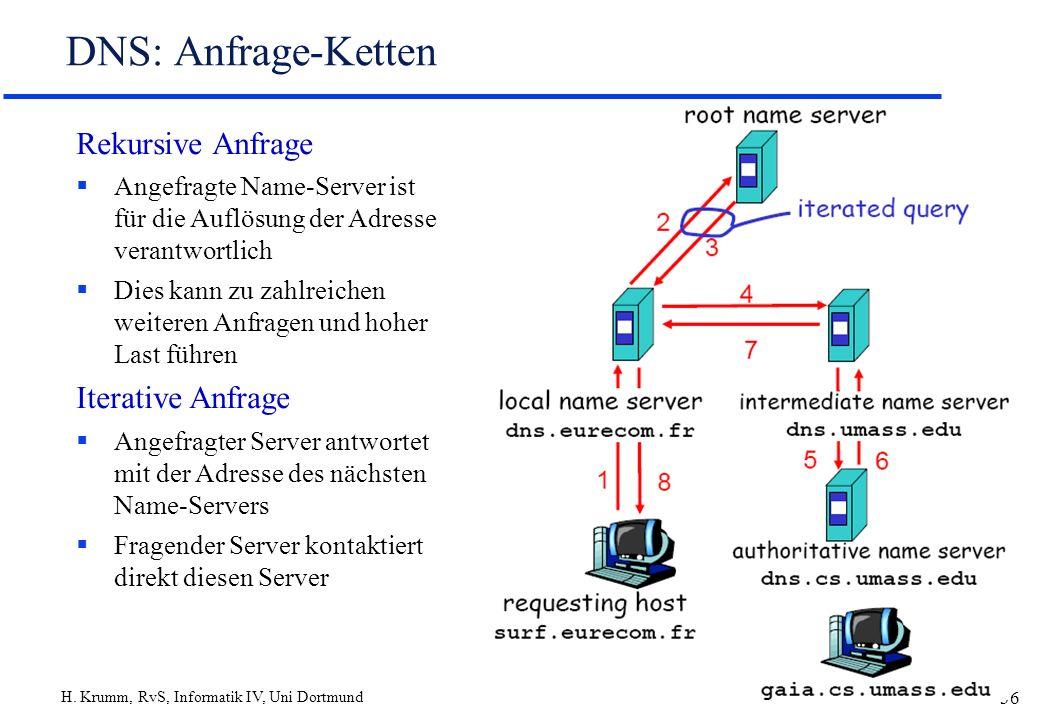 H. Krumm, RvS, Informatik IV, Uni Dortmund 36 DNS: Anfrage-Ketten Rekursive Anfrage Angefragte Name-Server ist für die Auflösung der Adresse verantwor
