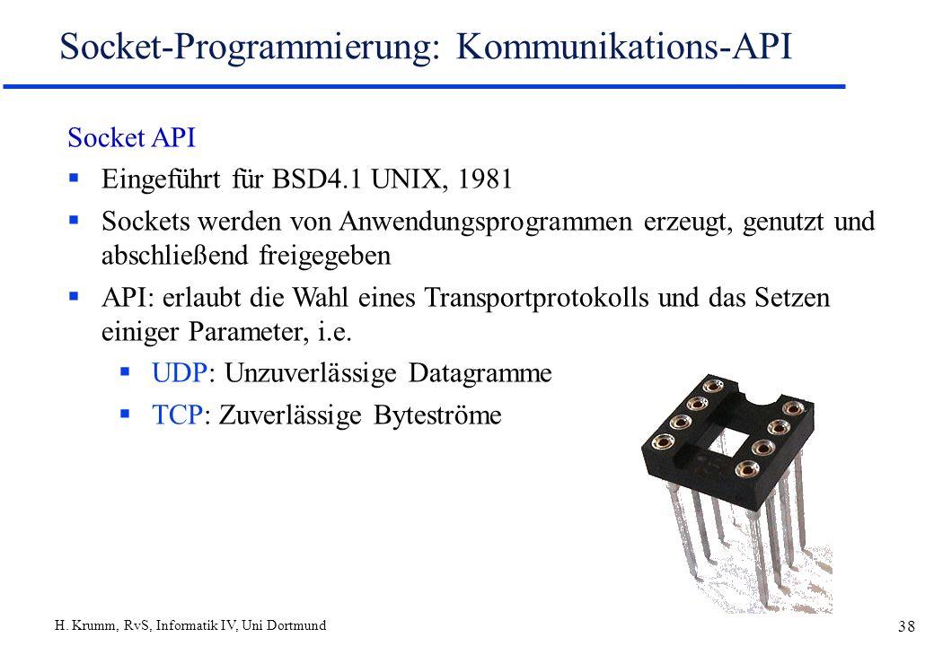 H. Krumm, RvS, Informatik IV, Uni Dortmund 38 Socket-Programmierung: Kommunikations-API Socket API Eingeführt für BSD4.1 UNIX, 1981 Sockets werden von