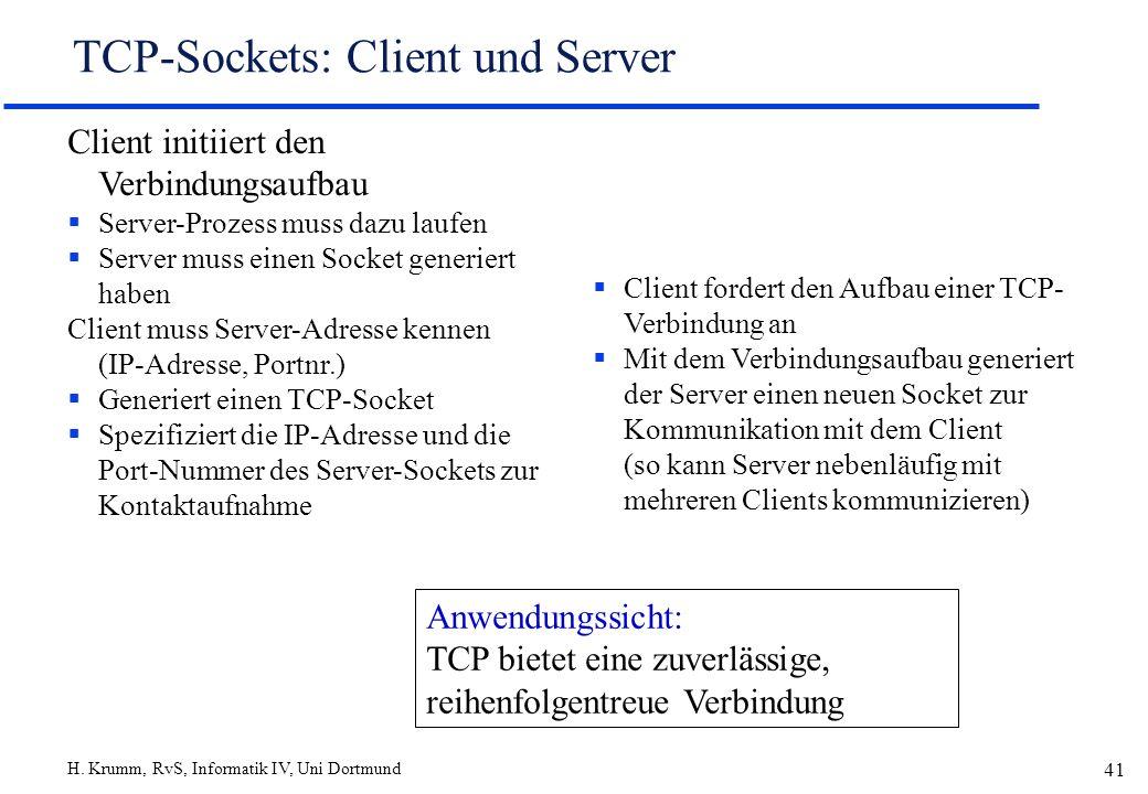 H. Krumm, RvS, Informatik IV, Uni Dortmund 41 TCP-Sockets: Client und Server Client initiiert den Verbindungsaufbau Server-Prozess muss dazu laufen Se