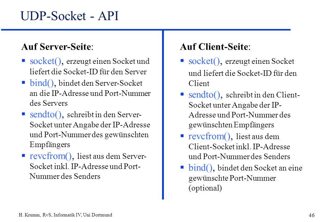 H. Krumm, RvS, Informatik IV, Uni Dortmund 46 UDP-Socket - API Auf Client-Seite: socket(), erzeugt einen Socket und liefert die Socket-ID für den Clie