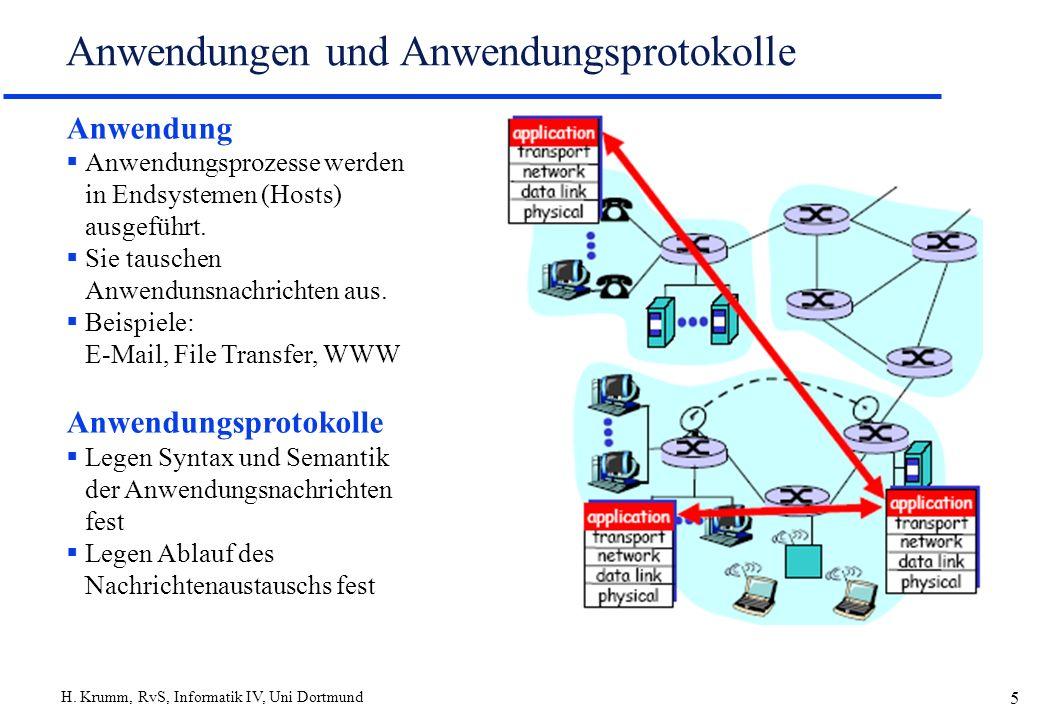 H. Krumm, RvS, Informatik IV, Uni Dortmund 5 Anwendungen und Anwendungsprotokolle Anwendung Anwendungsprozesse werden in Endsystemen (Hosts) ausgeführ
