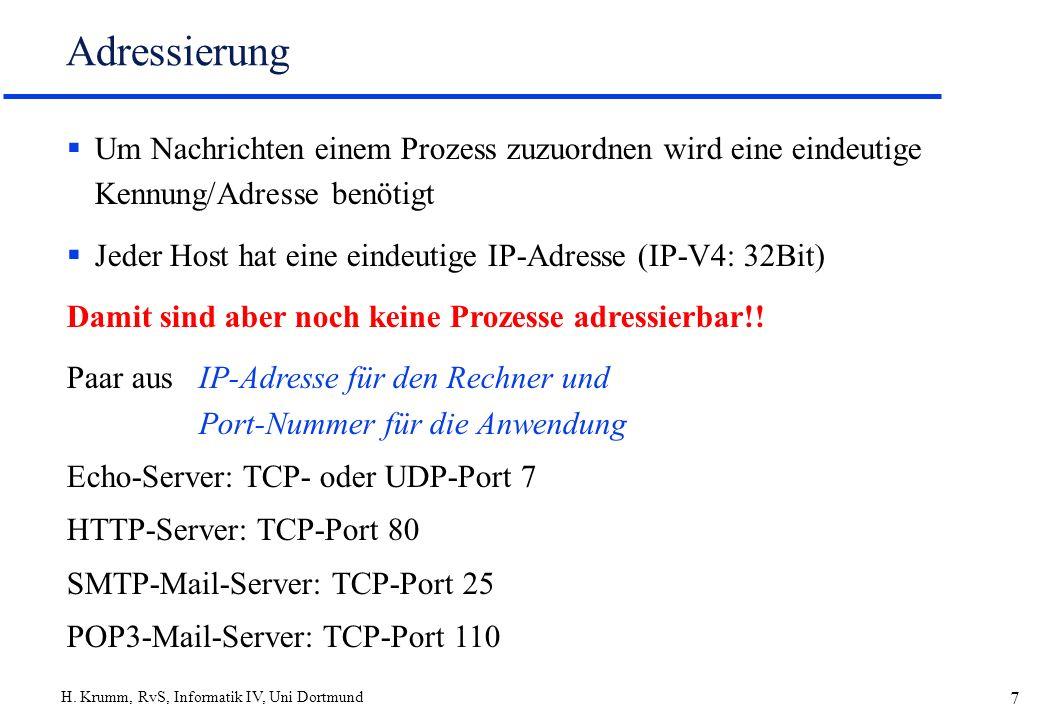 H. Krumm, RvS, Informatik IV, Uni Dortmund 7 Adressierung Um Nachrichten einem Prozess zuzuordnen wird eine eindeutige Kennung/Adresse benötigt Jeder