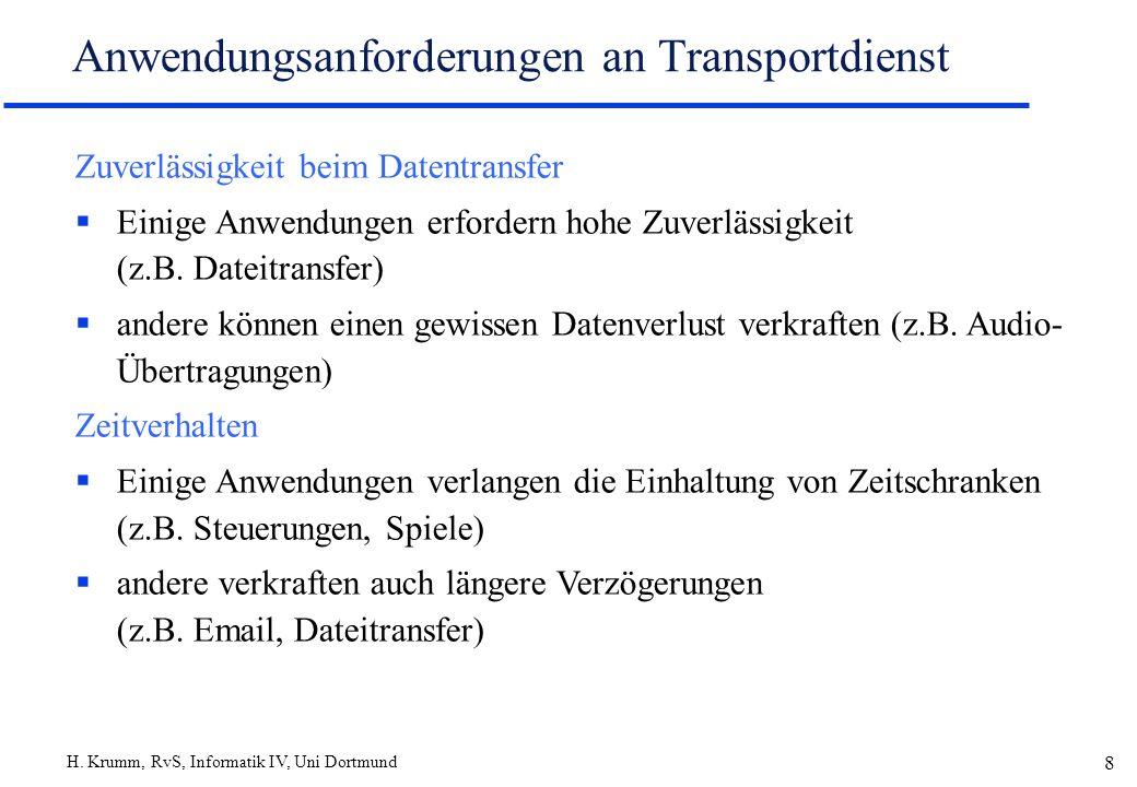 H. Krumm, RvS, Informatik IV, Uni Dortmund 8 Anwendungsanforderungen an Transportdienst Zuverlässigkeit beim Datentransfer Einige Anwendungen erforder