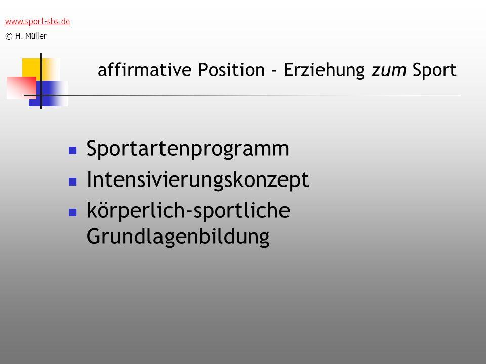 affirmative Position - Erziehung zum Sport Sportartenprogramm Intensivierungskonzept körperlich-sportliche Grundlagenbildung www.sport-sbs.de © H. Mül