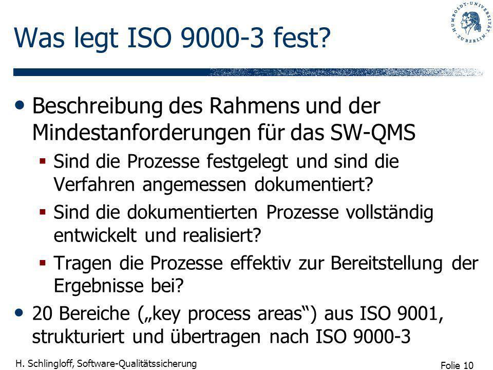 Folie 10 H. Schlingloff, Software-Qualitätssicherung Was legt ISO 9000-3 fest? Beschreibung des Rahmens und der Mindestanforderungen für das SW-QMS Si