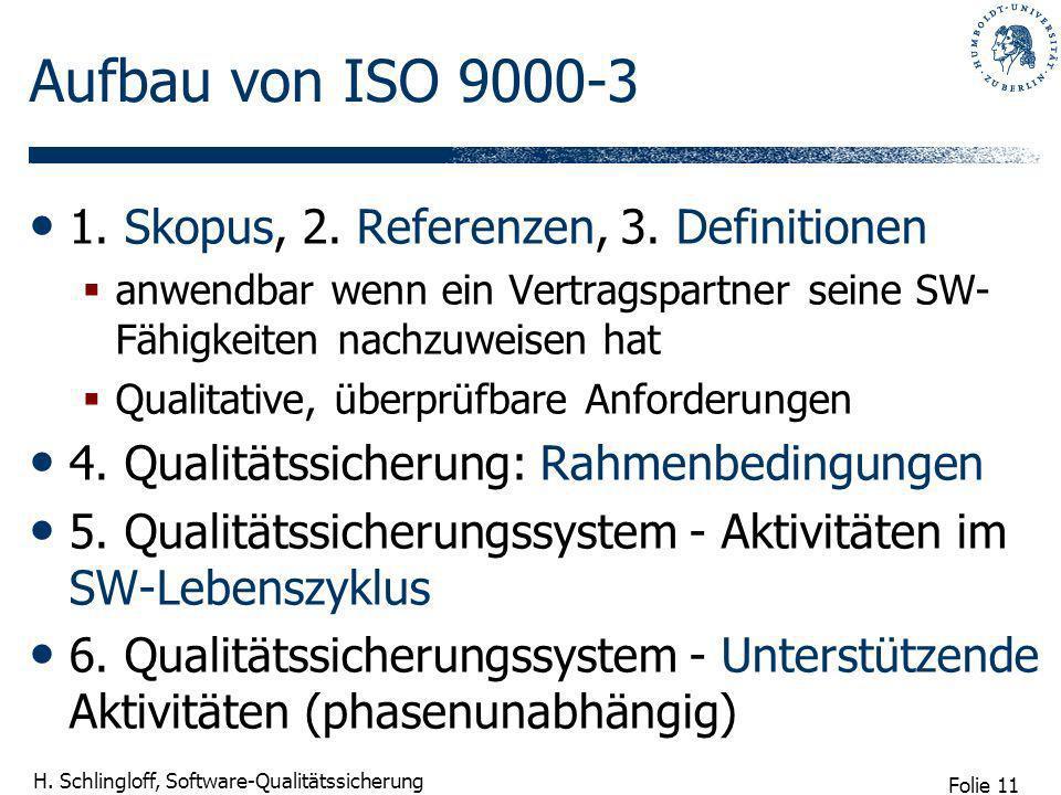 Folie 11 H. Schlingloff, Software-Qualitätssicherung Aufbau von ISO 9000-3 1. Skopus, 2. Referenzen, 3. Definitionen anwendbar wenn ein Vertragspartne