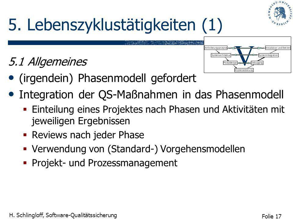 Folie 17 H. Schlingloff, Software-Qualitätssicherung 5. Lebenszyklustätigkeiten (1) 5.1 Allgemeines (irgendein) Phasenmodell gefordert Integration der