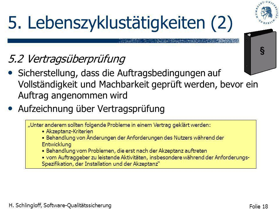 Folie 18 H. Schlingloff, Software-Qualitätssicherung 5. Lebenszyklustätigkeiten (2) 5.2 Vertragsüberprüfung Sicherstellung, dass die Auftragsbedingung