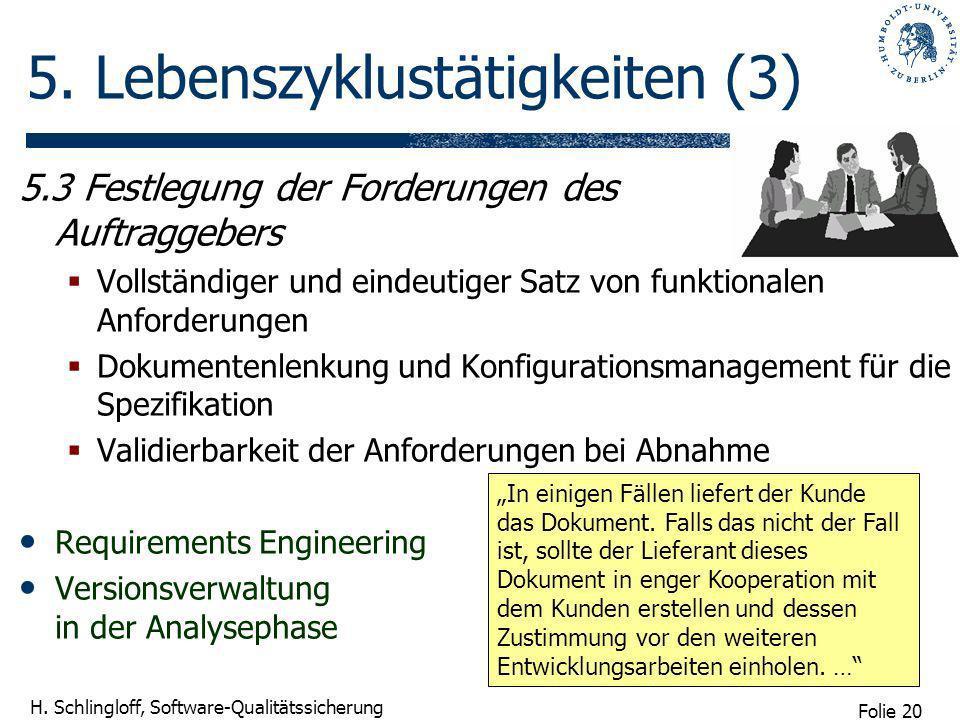 Folie 20 H. Schlingloff, Software-Qualitätssicherung 5. Lebenszyklustätigkeiten (3) 5.3 Festlegung der Forderungen des Auftraggebers Vollständiger und