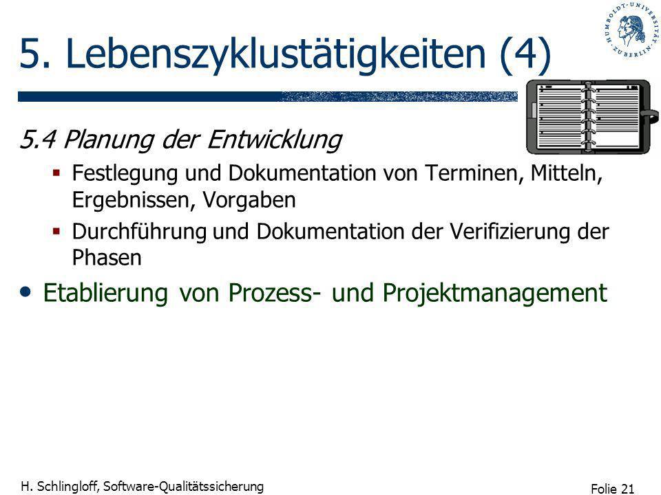 Folie 21 H. Schlingloff, Software-Qualitätssicherung 5. Lebenszyklustätigkeiten (4) 5.4 Planung der Entwicklung Festlegung und Dokumentation von Termi