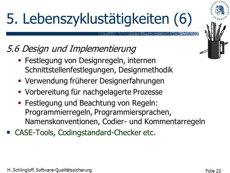 Folie 23 H. Schlingloff, Software-Qualitätssicherung 5. Lebenszyklustätigkeiten (6) 5.6 Design und Implementierung Festlegung von Designregeln, intern