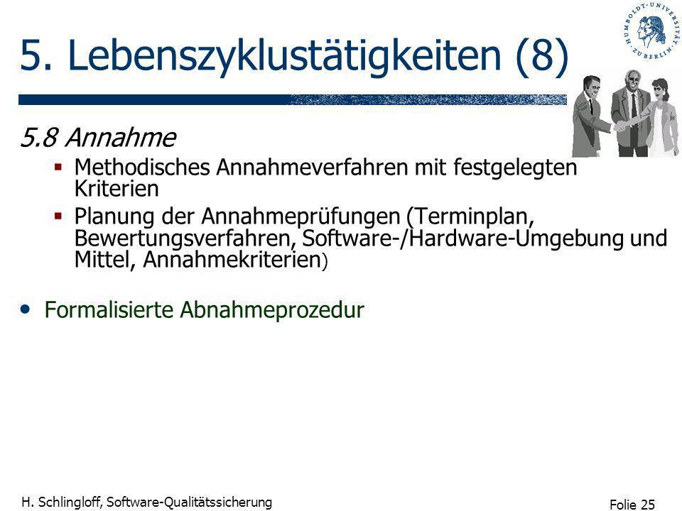 Folie 25 H. Schlingloff, Software-Qualitätssicherung 5. Lebenszyklustätigkeiten (8) 5.8 Annahme Methodisches Annahmeverfahren mit festgelegten Kriteri