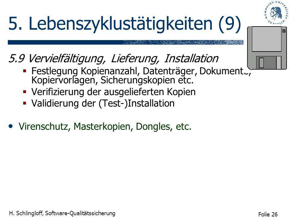 Folie 26 H. Schlingloff, Software-Qualitätssicherung 5. Lebenszyklustätigkeiten (9) 5.9 Vervielfältigung, Lieferung, Installation Festlegung Kopienanz