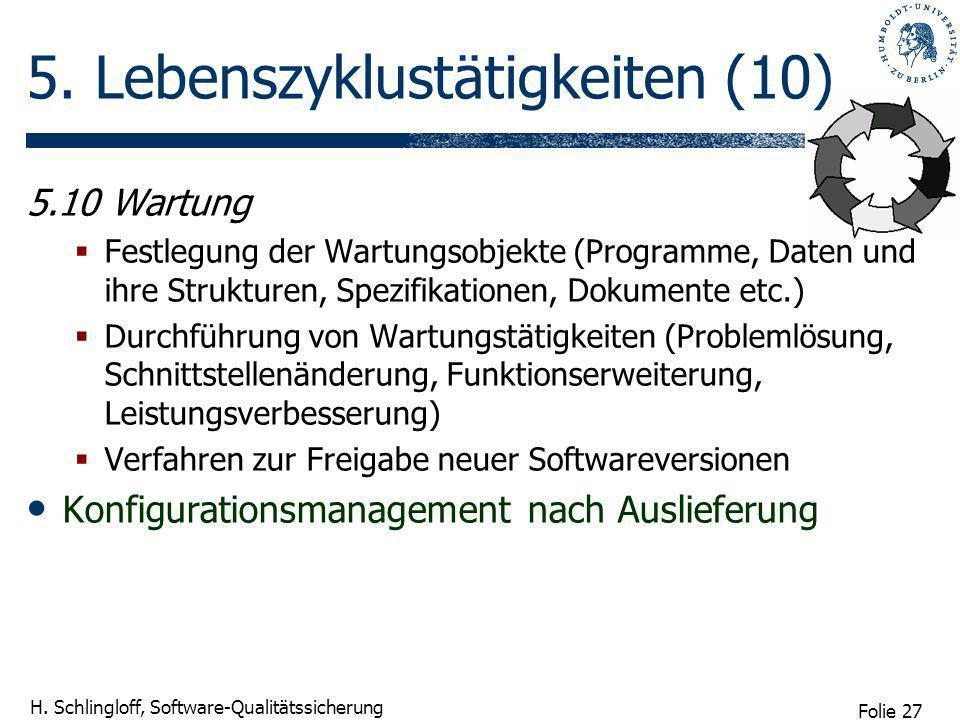 Folie 27 H. Schlingloff, Software-Qualitätssicherung 5. Lebenszyklustätigkeiten (10) 5.10 Wartung Festlegung der Wartungsobjekte (Programme, Daten und