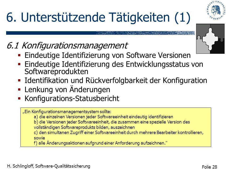 Folie 28 H. Schlingloff, Software-Qualitätssicherung 6. Unterstützende Tätigkeiten (1) 6.1 Konfigurationsmanagement Eindeutige Identifizierung von Sof