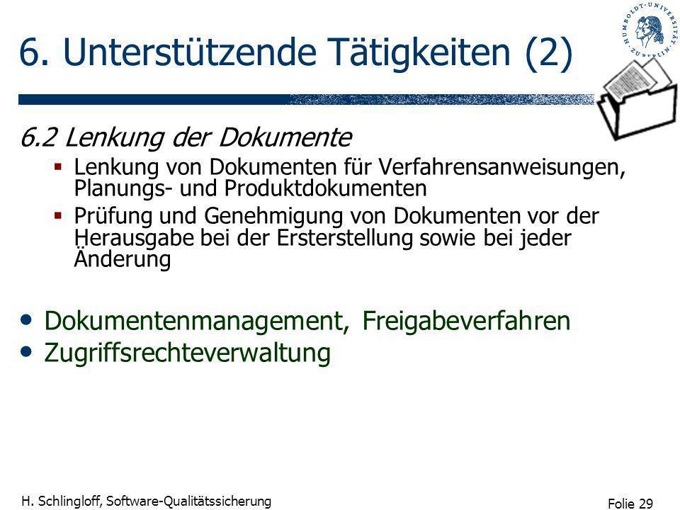 Folie 29 H. Schlingloff, Software-Qualitätssicherung 6. Unterstützende Tätigkeiten (2) 6.2 Lenkung der Dokumente Lenkung von Dokumenten für Verfahrens