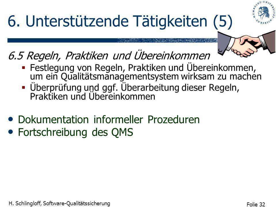 Folie 32 H. Schlingloff, Software-Qualitätssicherung 6. Unterstützende Tätigkeiten (5) 6.5 Regeln, Praktiken und Übereinkommen Festlegung von Regeln,