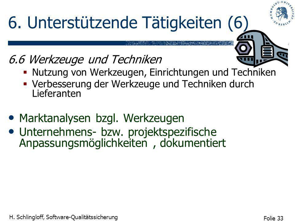 Folie 33 H. Schlingloff, Software-Qualitätssicherung 6. Unterstützende Tätigkeiten (6) 6.6 Werkzeuge und Techniken Nutzung von Werkzeugen, Einrichtung