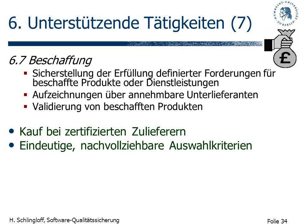 Folie 34 H. Schlingloff, Software-Qualitätssicherung 6. Unterstützende Tätigkeiten (7) 6.7 Beschaffung Sicherstellung der Erfüllung definierter Forder