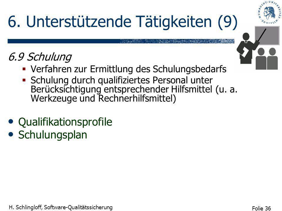 Folie 36 H. Schlingloff, Software-Qualitätssicherung 6. Unterstützende Tätigkeiten (9) 6.9 Schulung Verfahren zur Ermittlung des Schulungsbedarfs Schu