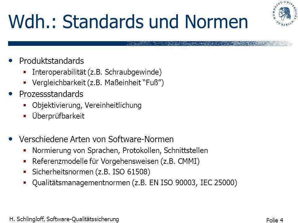 Folie 4 H. Schlingloff, Software-Qualitätssicherung Wdh.: Standards und Normen Produktstandards Interoperabilität (z.B. Schraubgewinde) Vergleichbarke