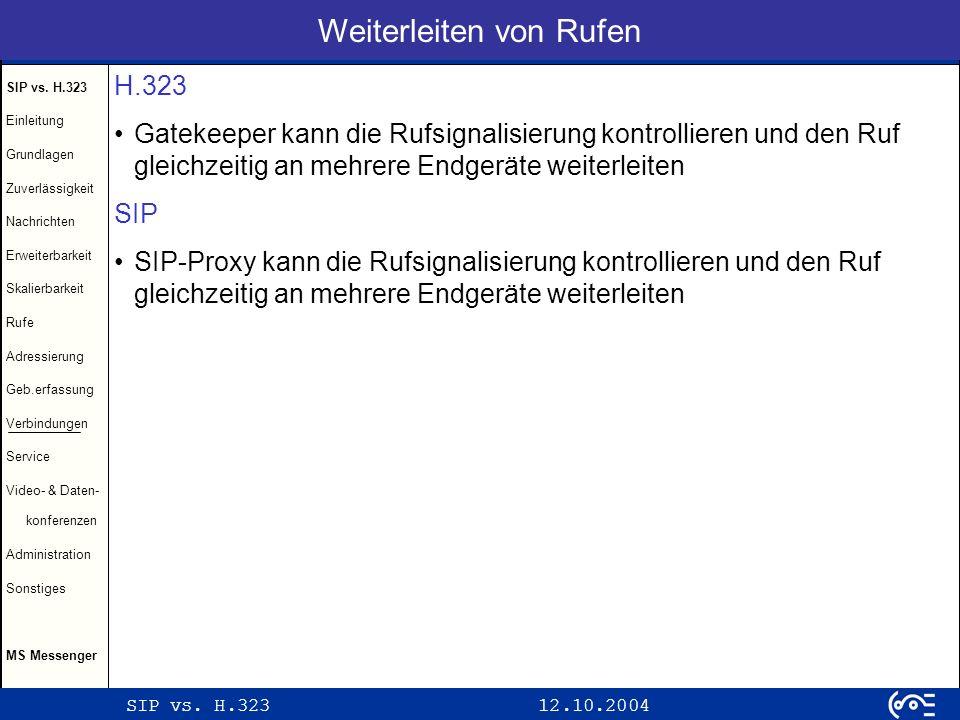 SIP vs. H.323 12.10.2004 SIP vs. H.323 Einleitung Grundlagen Zuverlässigkeit Nachrichten Erweiterbarkeit Skalierbarkeit Rufe Adressierung Geb.erfassun