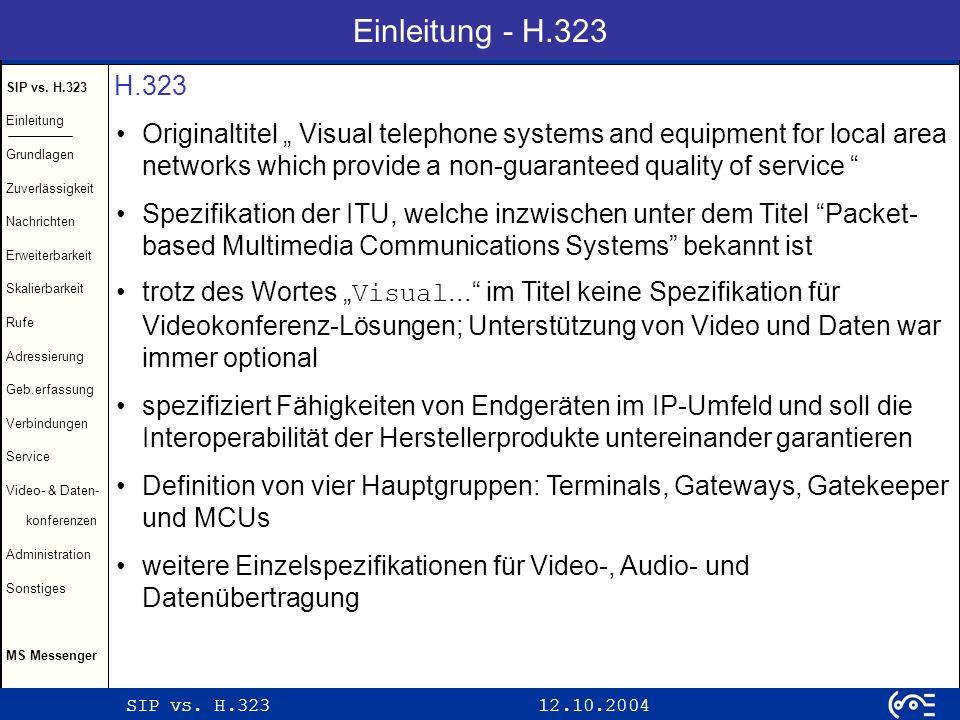 SIP vs.H.323 12.10.2004 SIP vs.