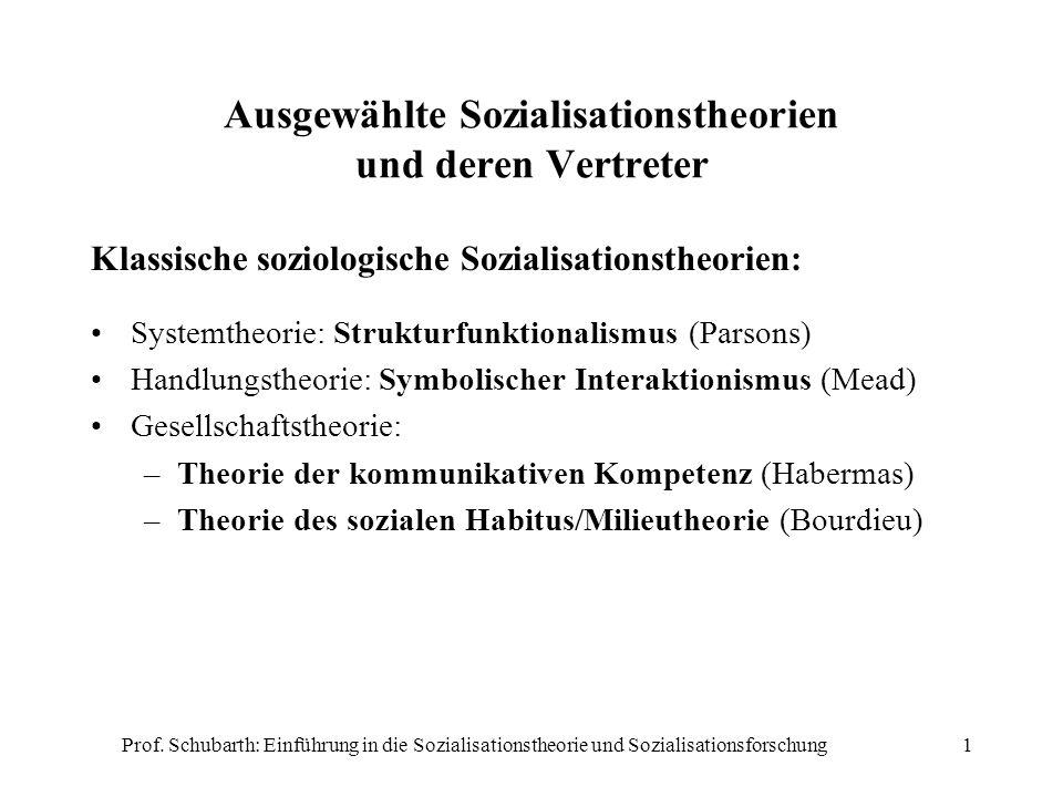 Prof. Schubarth: Einführung in die Sozialisationstheorie und Sozialisationsforschung1 Ausgewählte Sozialisationstheorien und deren Vertreter Klassisch