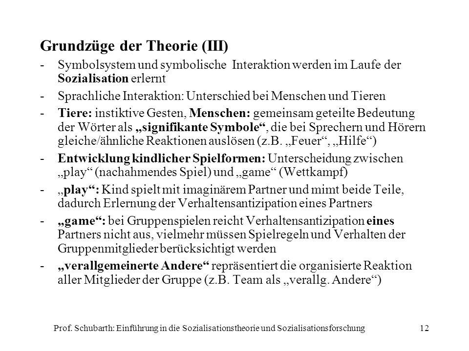 Prof. Schubarth: Einführung in die Sozialisationstheorie und Sozialisationsforschung12 Grundzüge der Theorie (III) -Symbolsystem und symbolische Inter