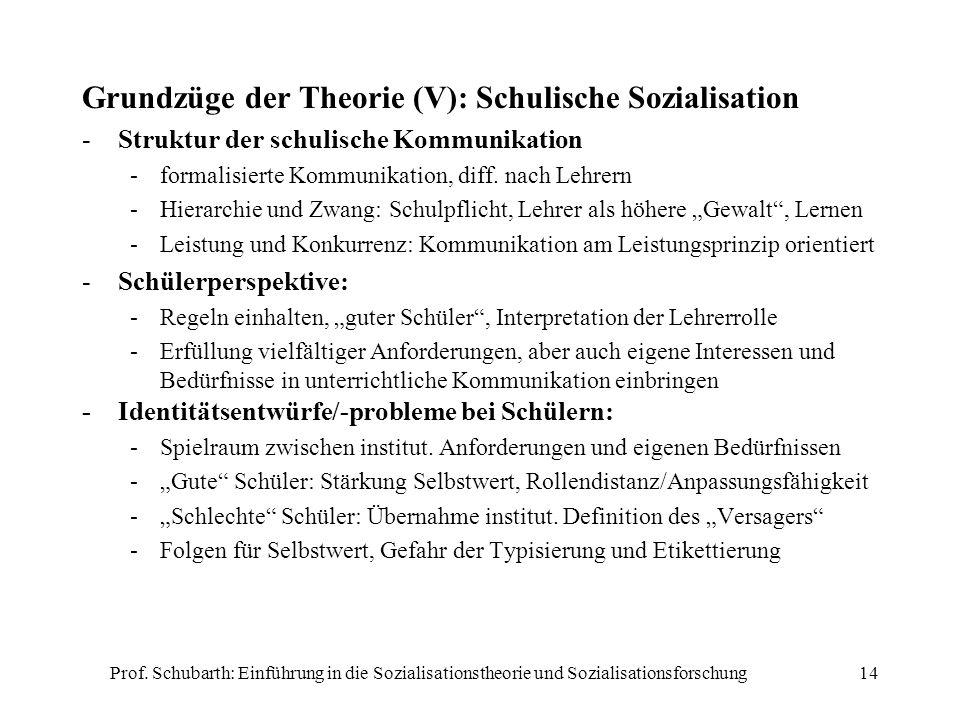 Prof. Schubarth: Einführung in die Sozialisationstheorie und Sozialisationsforschung14 Grundzüge der Theorie (V): Schulische Sozialisation -Struktur d