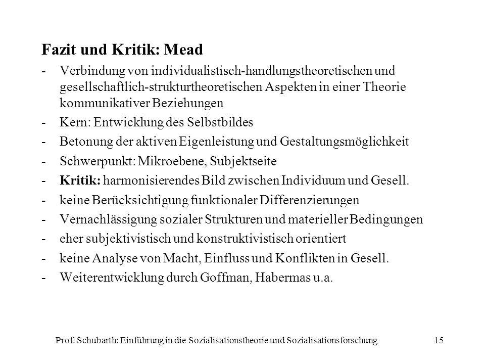 Prof. Schubarth: Einführung in die Sozialisationstheorie und Sozialisationsforschung15 Fazit und Kritik: Mead -Verbindung von individualistisch-handlu