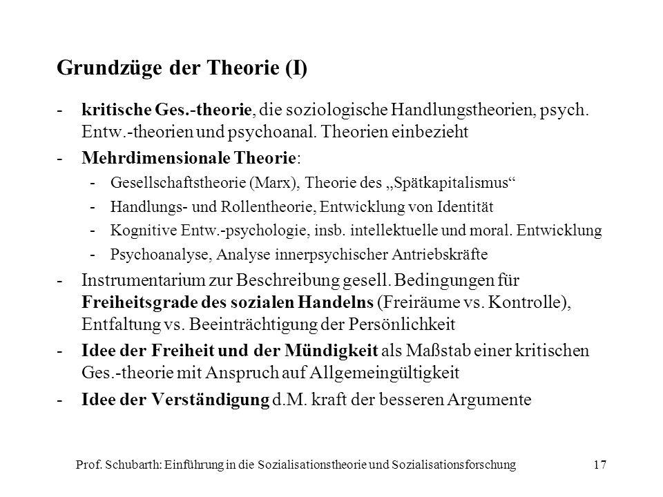Prof. Schubarth: Einführung in die Sozialisationstheorie und Sozialisationsforschung17 Grundzüge der Theorie (I) -kritische Ges.-theorie, die soziolog
